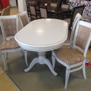 стол Леонардо и стулья Матис Тон 20 Эмаль белая + шампань ткань Андрис Вензель 37-2