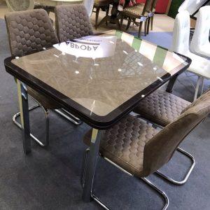 стол Пекин кожа исп. 2 ткань стекло коричневое каркас коричневый ткань Плутон 709 опора № 11 и стулья Шато декор Соты каркас нержавейка полированная ткань Плутон 709
