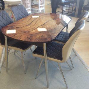 стол Ривьера Фотопечать опора № 27 (полированная нержаыеющая сталь) и стулья Шато (каркас нержаыеющая сталь)