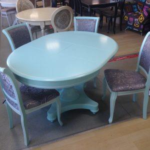 стол Валентино и стулья Кабриоль Тон 41 Скай + белый ткань Базар 149-2