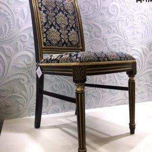 стул Бернард с патиной Тон 25 Эмаль чёрная + золото Андрис Вензель 4208-1 синий